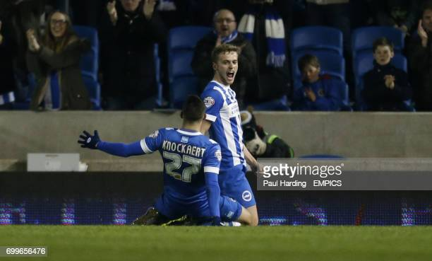 Brighton and Hove Albion's James Wilson celebrates scoring their first goal