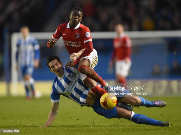 Brighton and Hove Albion's Lewis Dunk tackles Charlton Athletic's Ademola Lookman