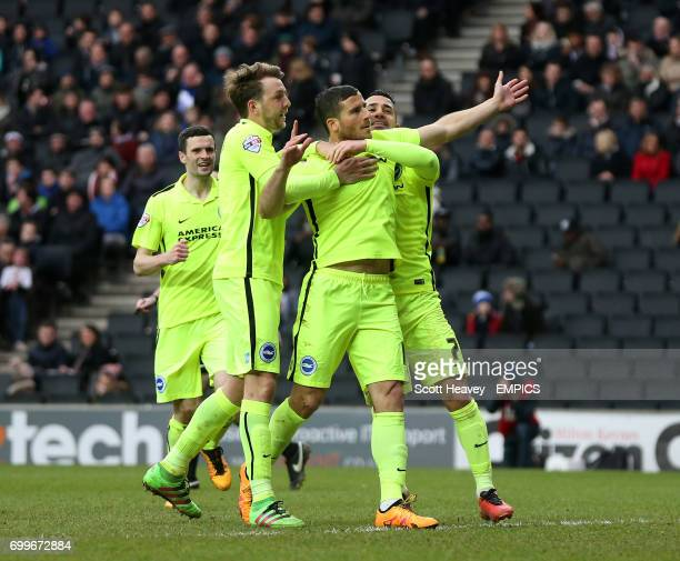 Brighton and Hove Albion's Tomer Hemed celebrates after scoring from the penalty spot