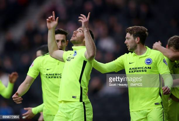 Brighton and Hove Albion's Tomer Hemed celebrates after scoring their first goal from the penalty spot