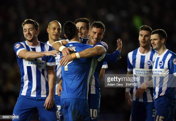 Brighton and Hove Albion's Tomer Hemed celebrates scoring their second goal