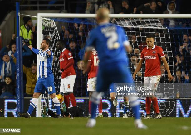 Brighton and Hove Albion's Tomer Hemed celebrates the third Brighton goal