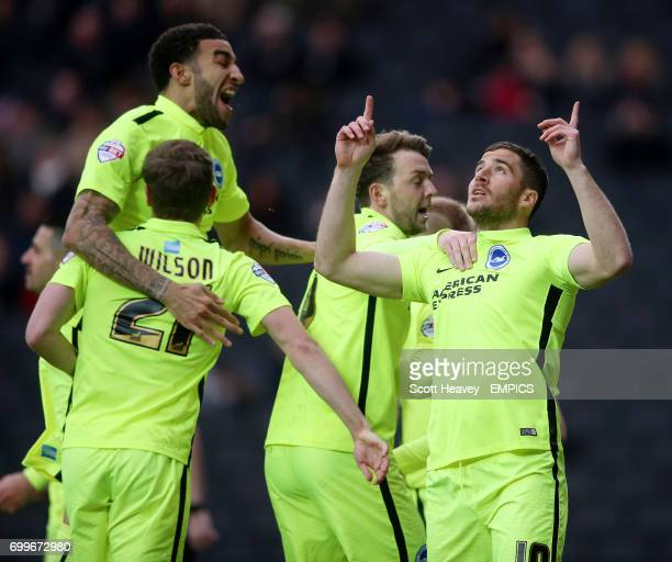 Brighton and Hove Albion's Tomer Hemed elebrates after scoring their first goal from the penalty spot