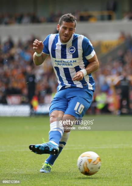 Brighton and Hove Albion's Tomer Hemed misses a penalty in the first half