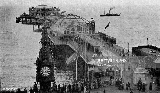 Brighton Aquarium and Palace Pier showing the Winter Garden Brighton East Sussex early 20th century