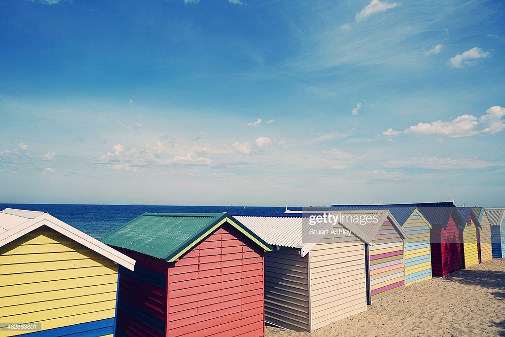 Brighton beach, bathing boxes : Stock Photo