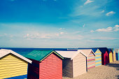 Brighton beach, bathing boxes