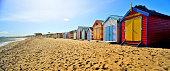 Brighton Beach Boxes in hot sunny day