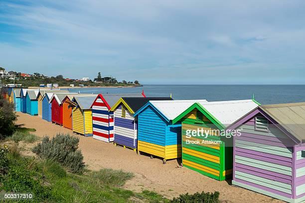 Brighton Beach Colorful Bath Houses