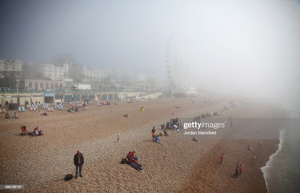 Brighton Beach is shrouded in fog on May 6, 2013 in Brighton, England. Visitors have flocked to Brighton Beach as the Met Office predicted the May Day Bank Holiday to be the hottest day of the year so far.