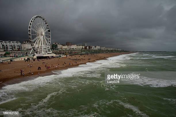 Brighton Beach on a stormy summer day
