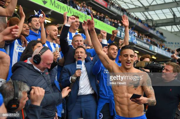 Brighton chairman Tony Bloom and Anthony Knockhaert salute the fans at the end of the Sky Bet Championship match between Brighton Hove Albion and...