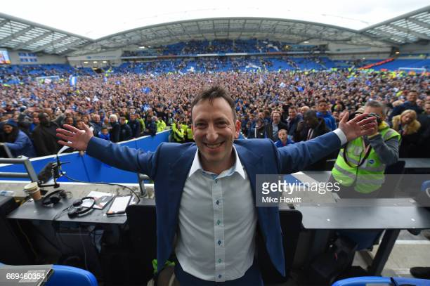 Brighton Chairman Tony Bloom celebrates at the end of the Sky Bet Championship match between Brighton Hove Albion and Wigan Athletic at Amex Stadium...