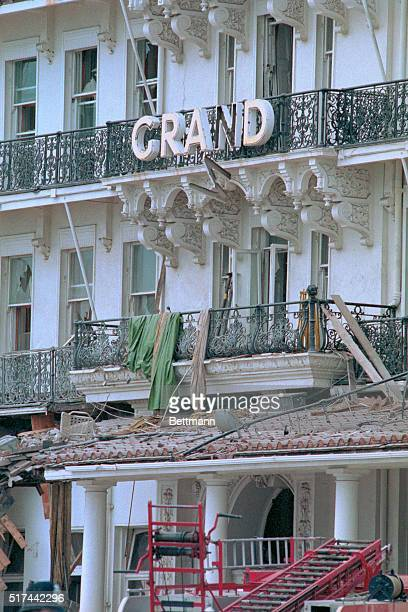 Exterior of the Grand Hotel here October 12th after a powerful IRA bomb aimed for Prime Minister Margaret Thatcher and her cabinet exploded killing...