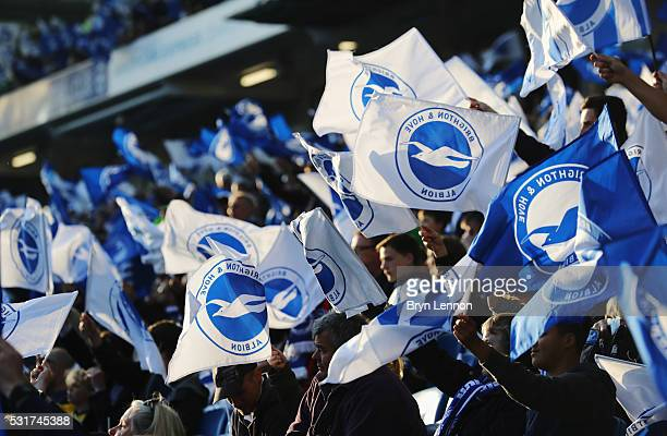 Brighton fans welcome their team prior to the Sky Bet Championship Play Off semi final second leg match between Brighton Hove Albion and Sheffield...