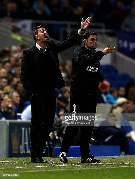 Brighton head coach Oscar Garcia shouts instructions during the Sky Bet Championship match between Brighton Hove Albion and Sheffield Wednesday at...