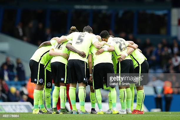 Brighton Hove Albion FC huddle prior to the Sky Bet Championship match between Leeds United and Brighton Hove Albion at Elland Road on October 17...