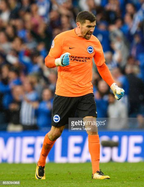Brighton Hove Albion Goalkeeper Mathew Ryan celebrates after Brighton win the Premier League match between Brighton and Hove Albion and Newcastle...