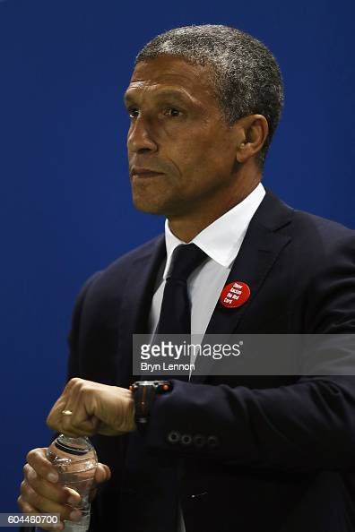 Brighton Hove Albion Manager Chris Hughton looks on at the start of the Sky Bet Championship match between Brighton Hove Albion and Huddersfield Town...