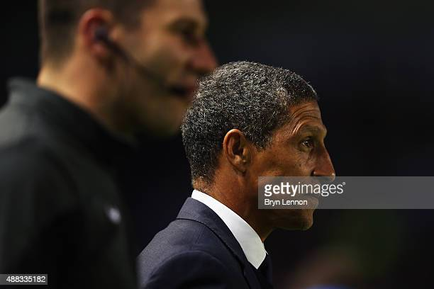 Brighton Hove Albion Manager Chris Hughton looks on prior to the Sky Bet Championship match between Brighton Hove Albion and Rotherham United at Amex...