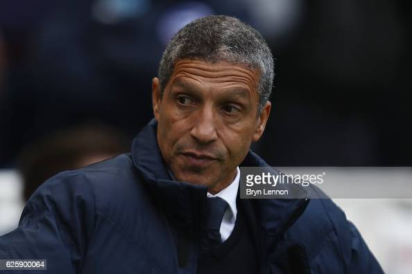 Brighton Hove Albion Manager Chris Hughton looks on prior to the Sky Bet Championship match between Brighton Hove Albion and Fulham at Amex Stadium...