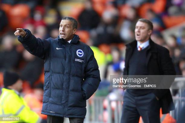 Brighton Hove Albion manager Chris Hughton on the touchline as Blackpool manager Lee Clark looks on beyond
