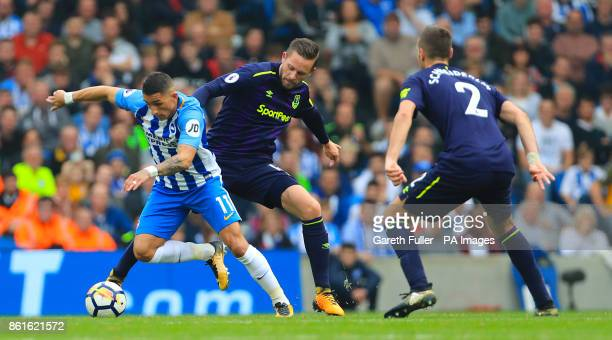 Brighton Hove Albion's Anthony Knockaert and Everton's Gylfi Sigurdsson battle for the ball during the Premier League match at the AMEX Stadium...