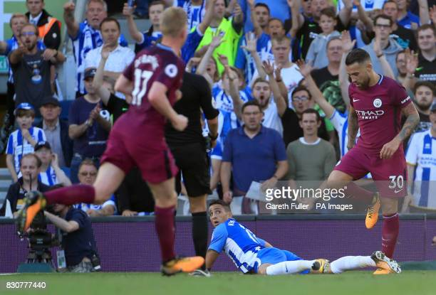 Brighton Hove Albion's Anthony Knockaert appeals for a penalty during the Premier League match at the AMEX Stadium Brighton