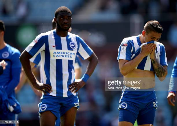 Brighton Hove Albion's Anthony Knockaert appears dejected after the final whistle during the Sky Bet Championship match at Villa Park Birmingham