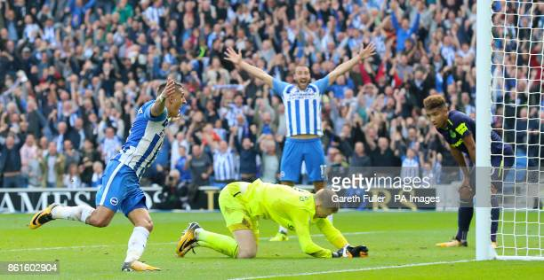 Brighton Hove Albion's Anthony Knockaert celebrates scoring his side's first goal of the game during the Premier League match at the AMEX Stadium...