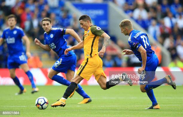 Brighton Hove Albion's Anthony Knockaert in action during the Premier League match at the King Power Stadium Leicester