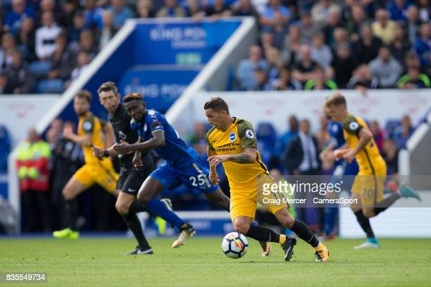 Brighton Hove Albion's Anthony Knockaert in action during the Premier League match between Leicester City and Brighton and Hove Albion at The King...