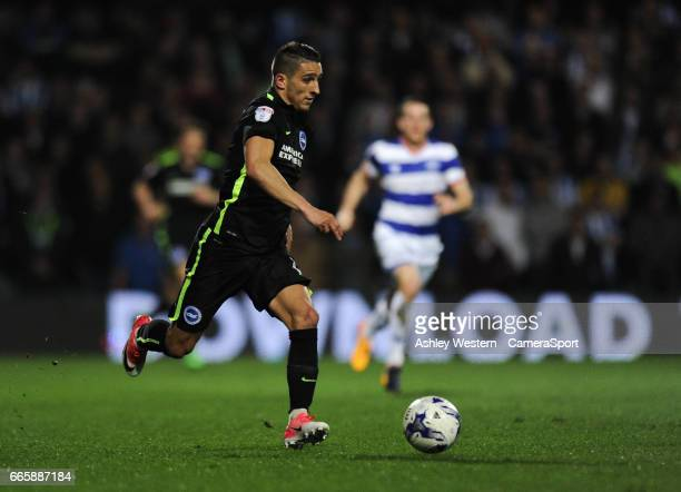 Brighton Hove Albion's Anthony Knockaert in action during the Sky Bet Championship match between Queens Park Rangers and Brighton Hove Albion at...