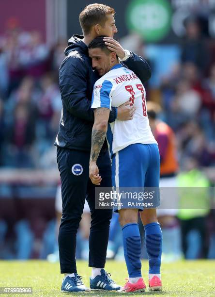 Brighton Hove Albion's Anthony Knockaert is comforted after the Sky Bet Championship match at Villa Park Birmingham