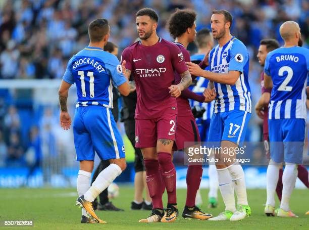 Brighton Hove Albion's Anthony Knockaert shakes hands with Manchester City's Kyle Walker after the final whistle during the Premier League match at...