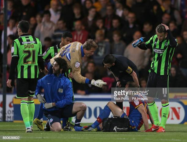 Brighton Hove Albion's goalkeeper Tomasz Kuszczak has words with Crystal Palace's Glenn Murray
