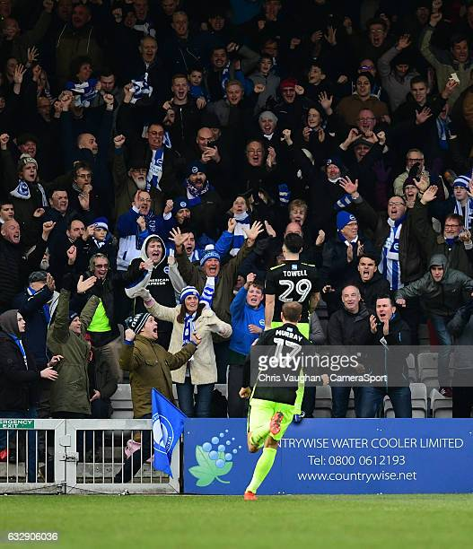 Brighton Hove Albion's Richie Towell celebrates scoring the opening goal during the Emirates FA Cup Fourth Round match between Lincoln City and...
