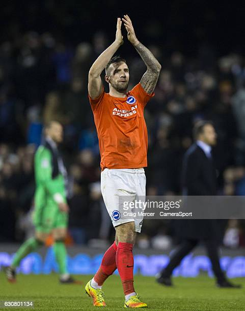 Brighton Hove Albion's Shane Duffy applauds the away fans after the Sky Bet Championship match between Fulham and Brighton Hove Albion at Craven...