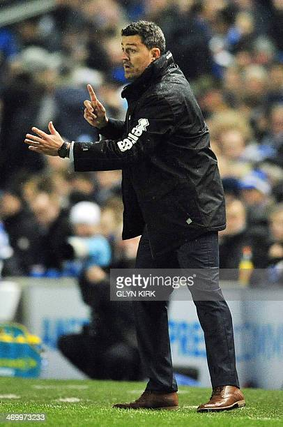 Brighton Hove Albion's Spanish manager Oscar Garcia gestures during the English FA Cup fifth round football match between Brighton Hove Albion and...