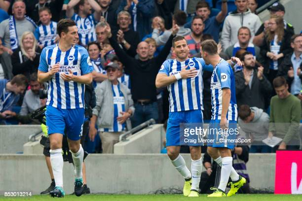 Brighton Hove Albion's Tomer Hemed celebrates scoring the opening goal during the Premier League match between Brighton and Hove Albion and Newcastle...