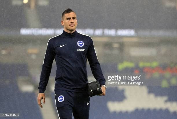 Brighton Hove Albion's Tomer Hemed on the pitch before the Premier League match at the AMEX Stadium Brighton