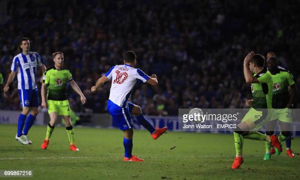 Brighton Hove Albion's Tomer Hemed scores his side's first goal of the game