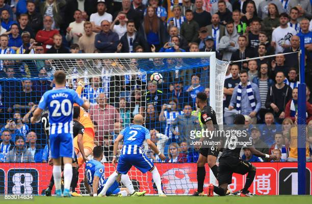 Brighton Hove Albion's Tomer Hemed scores his side's first goal of the game during the Premier League match at the AMEX Stadium Brighton