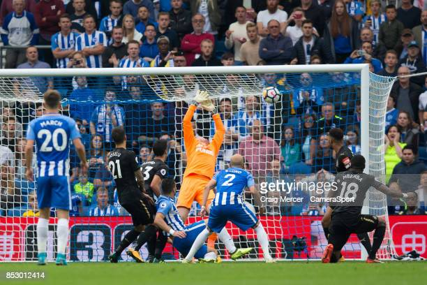 Brighton Hove Albion's Tomer Hemed scores the opening goal past Newcastle United's Robert Elliot during the Premier League match between Brighton and...