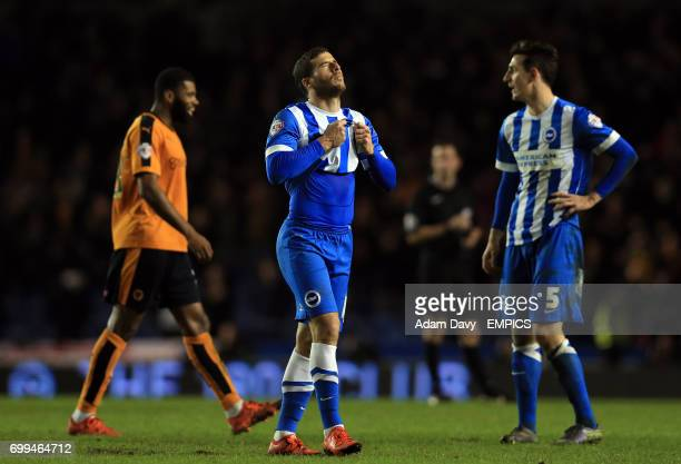 Brighton Hove Albion's Tomer Hemed shows his frustration at the end of the game