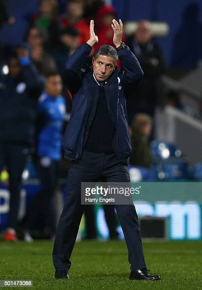 Brighton manager Chris Hughton applaus the away fans at the end of the Sky Bet Championship match between Queens Park Rangers and Brighton and Hove...