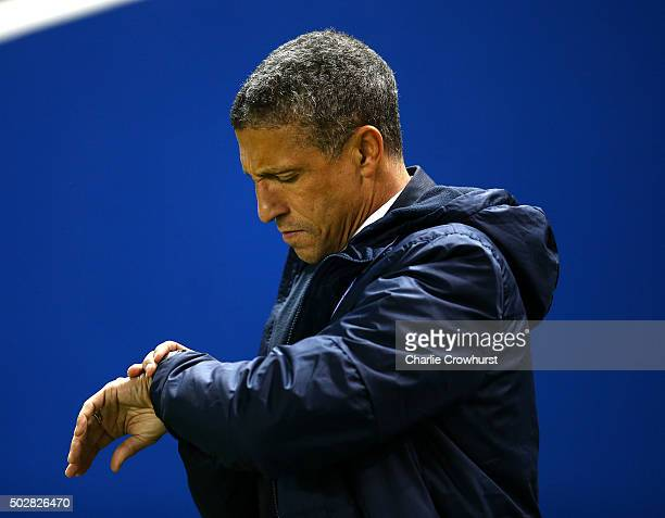 Brighton manager Chris Hughton checks his watch during the Sky Bet Championship match between Brighton and Hove Albion and Ipswich Town at The Amex...