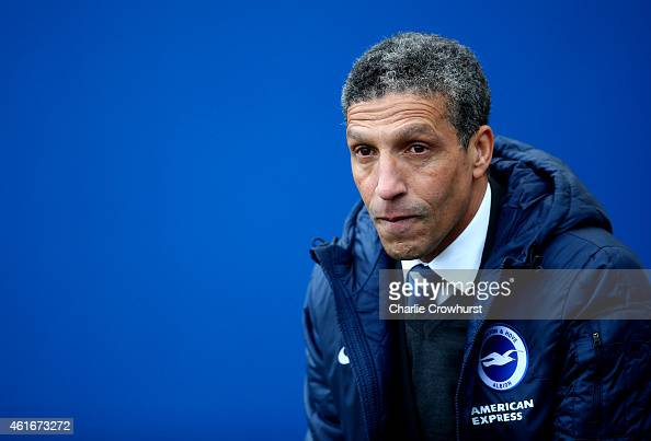 Brighton manager Chris Hughton during the Sky Bet Championship match between Brighton Hove Albion and Brentford at The Amex Stadium on January 17...