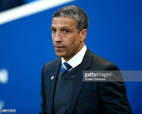 Brighton manager Chris Hughton during the Sky Bet Championship match between Brighton Hove Albion and Huddersfield Town at The Amex Stadium on April...