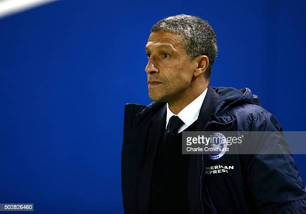 Brighton manager Chris Hughton during the Sky Bet Championship match between Brighton and Hove Albion and Ipswich Town at The Amex Stadium on...